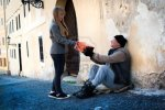 helping homeless man