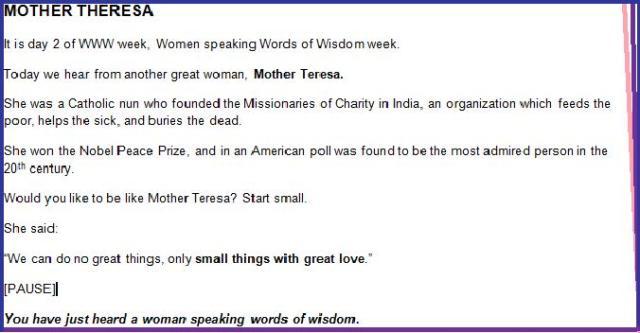 Mother Teresa announcement quote